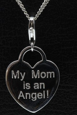 Zilveren Hart My Mom is an angel hanger en/of bedel
