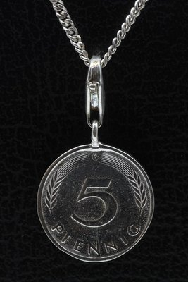 Zilveren 5 Pfennig Duitsland hanger én bedel