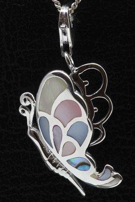 Zilveren Vlinder parelmoer mix hanger én bedel