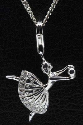 Zilveren Ballerina hanger en/of bedel