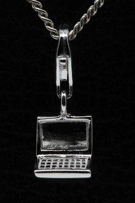 Zilveren Laptop klein hanger en/of bedel