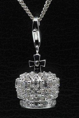 Zilveren Kroon met kristallen hanger en/of bedel