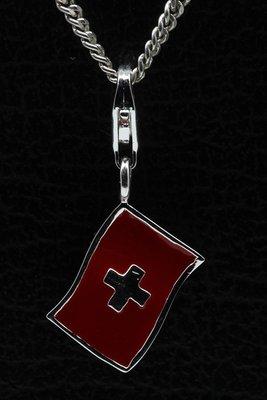 Zilveren Zwitserse vlag hanger én bedel