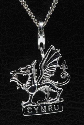 Zilveren Cymru Wales hanger én bedel