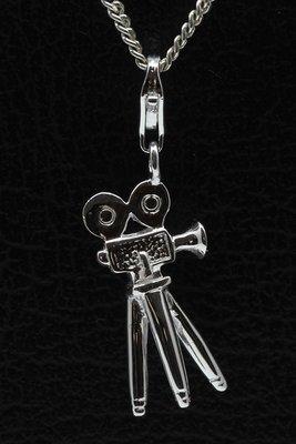 Zilveren Filmcamera op statief hanger én bedel