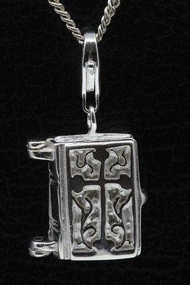 Zilveren Bijbel te openen hanger én bedel
