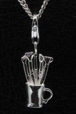 Zilveren Penselenset in houder hanger én bedel