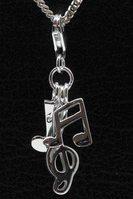 Zilveren Muzieknoten en sleutel hanger én bedel
