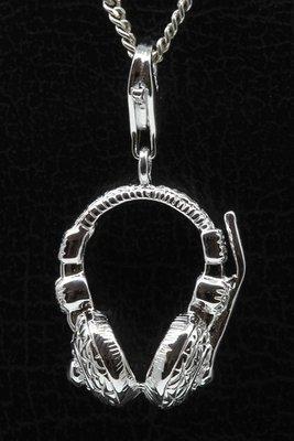 Zilveren Koptelefoon hanger én bedel