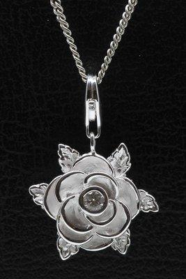 Zilveren Roos met zirkonia hanger én bedel