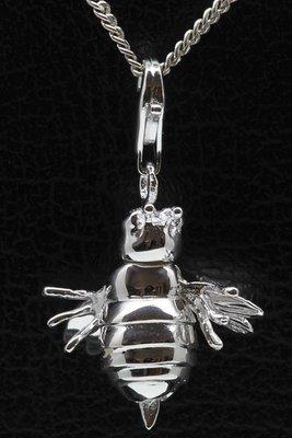 Zilveren Bij beweegbaar hanger én bedel