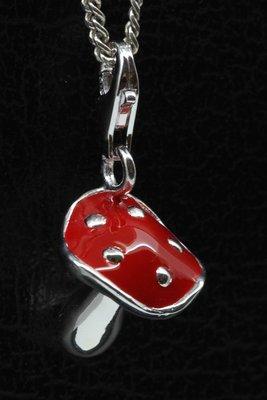 Zilveren Paddestoel rood met stippen hanger én bedel