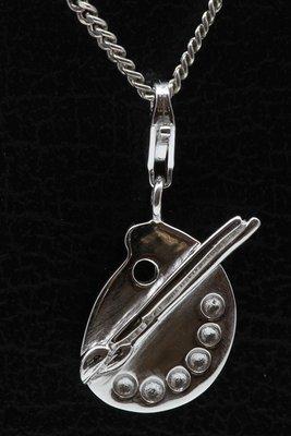 Zilveren Schilderspalet met kwast hanger én bedel