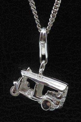 Zilveren Tuk Tuk driewieler hanger én bedel