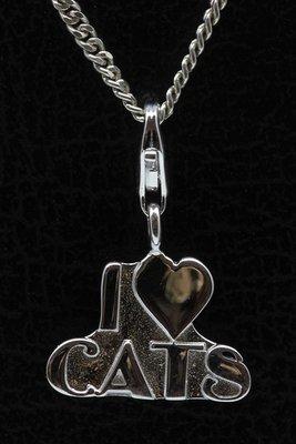 Zilveren I Love Cats hanger én bedel
