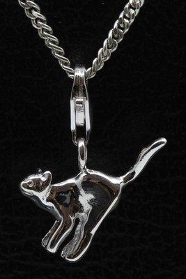 Zilveren Kat staart omhoog hanger én bedel