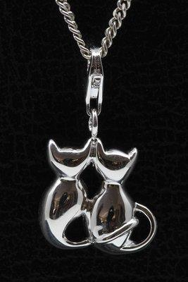 Zilveren Kattenpaar middel hanger én bedel