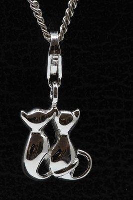 Zilveren Kattenpaar klein hanger én bedel