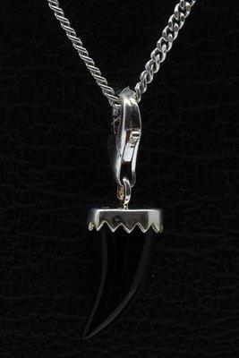 Zilveren Tand Onyx hanger én bedel
