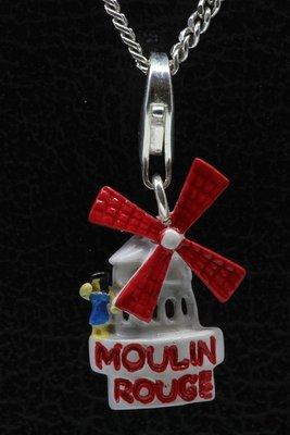 Zilveren Moulin Rouge rood/wit hanger én bedel