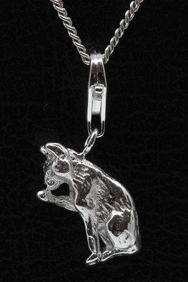 Zilveren Kat likt poot hanger én bedel