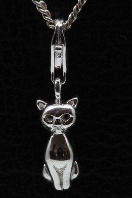 Zilveren Kat zittend hanger én bedel