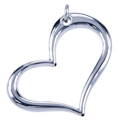 Zilveren Hart open groot ketting hanger