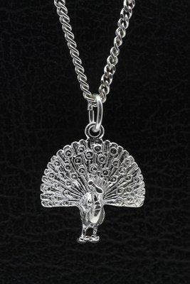 Zilveren Pauw ketting hanger
