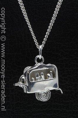 Zilveren Draaiorgel 3D ketting hanger
