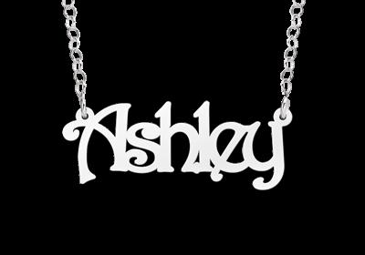 "Zilveren Naamketting ""Ashley"""