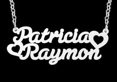 "Zilveren Naamketting ""Patricia - hart - Raymon"""