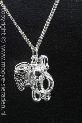 Zilveren Olifantenkop ketting hanger