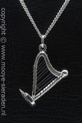 Zilveren Harp met pedalen ketting hanger