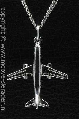 Zilveren Boeing 737 middel ketting hanger