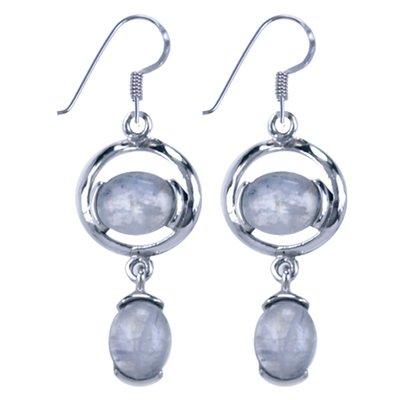 Zilveren Oorhanger Duo met maansteen edelsteen