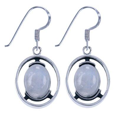 Zilveren Oorhanger Ovaal open met maansteen edelsteen