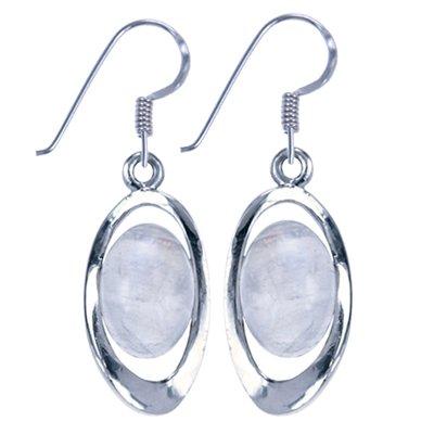 Zilveren Oorhanger Ovaal gebogen met maansteen edelsteen