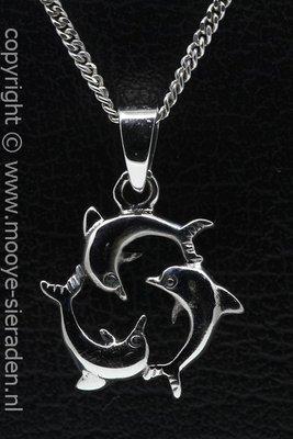 Zilveren Dolfijnen trio ketting hanger