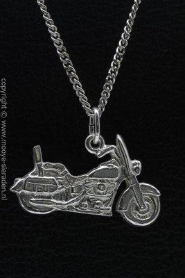 Zilveren Harley Heritage met beschermplaat ketting hanger
