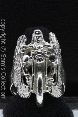 Zilveren Motorrijder met vleugels ring