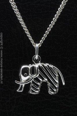 Zilveren Olifant opengewerkt ketting hanger