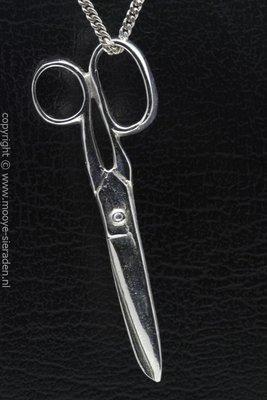 Zilveren Schaar XL ketting hanger