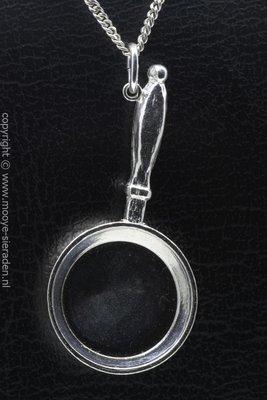 Zilveren Koekenpan XL ketting hanger