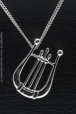Zilveren Harp handuitvoering ketting hanger