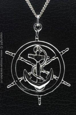Zilveren Anker in stuurrad XL ketting hanger
