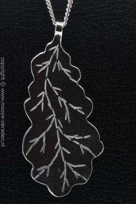 Zilveren Eiken blad ketting hanger - groot