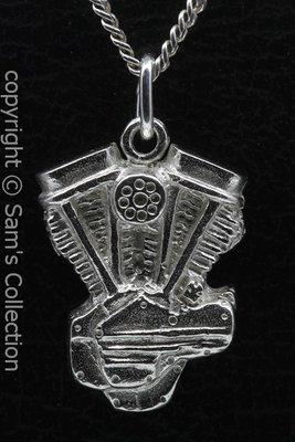 Zilveren Harley Panhead motorblok ketting hanger