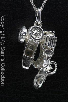 Zilveren Harley Motor zijspan ketting hanger
