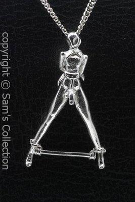 Zilveren SM bondage man ketting hanger