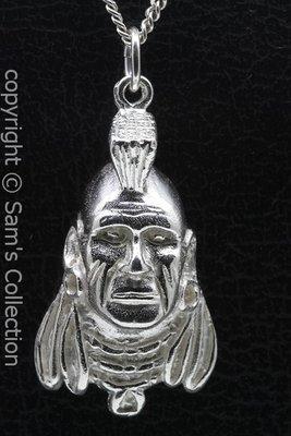 Zilveren Mohikaan indiaan ketting hanger